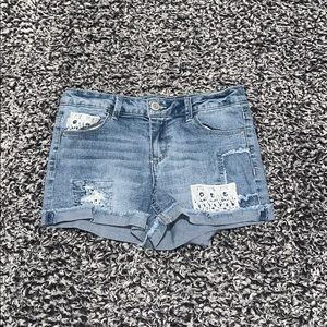 Low Waisted, Patched Shorts